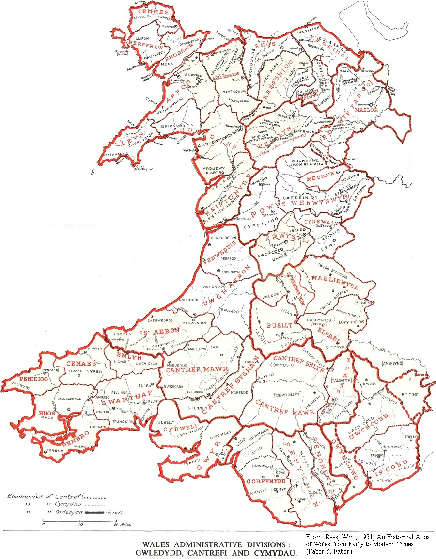 Map of commotes of Wales