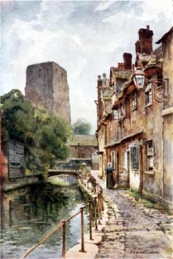 paining showing view of St George's tower, Oxford Castle